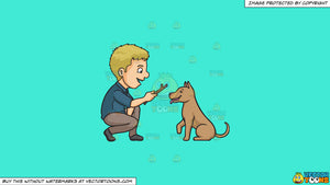 Cartoon clipart: a man playing fetch the stick with his dog on a solid turquiose 41ead4 background