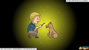 Cartoon clipart: a man playing fetch the stick with his dog on a yellow and black gradient background