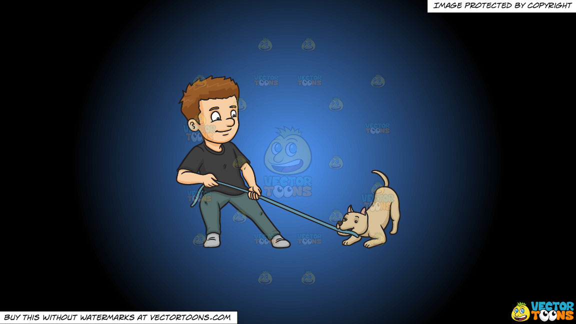 Cartoon clipart: a man playing ropes with his dog on a blue and black gradient background