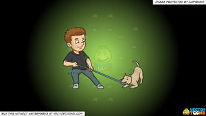 Cartoon clipart: a man playing ropes with his dog on a green and black gradient background