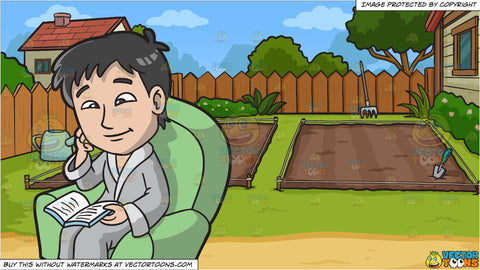 A Man Reading A Book After His Massage and Empty Backyard Vegetable Garden Background