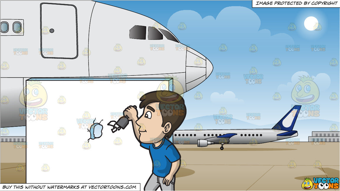 A Man Removing Flaky Paint From The Edges Of The Hole In The Wall and Airport Runway Background