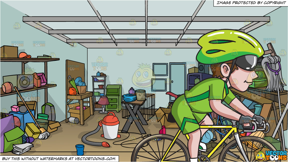A Man Riding A Road Bike and A Messy Garage Background