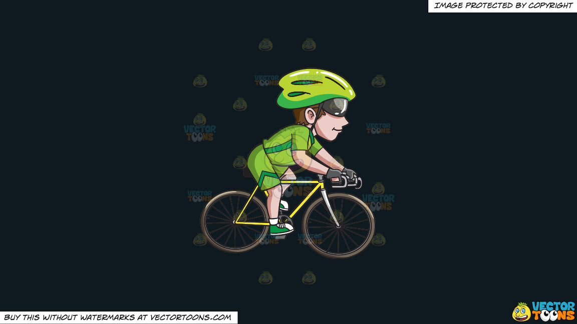 Clipart: A Man Riding A Road Bike on a Solid Off Black 0F1A20 Background