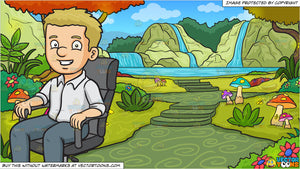 A Man Sitting In His Office Chair and A Fantasy Fairy Land Background