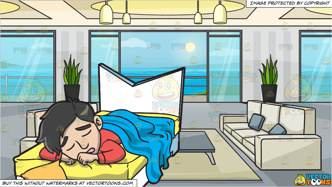 Super A Man Sleeping In His Bed And A Modern Apartment With A Balcony And Ocean View Background Unemploymentrelief Wooden Chair Designs For Living Room Unemploymentrelieforg