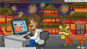 a man surfing a website at work and chinese new year background