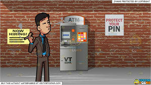 A Man Taking A Break From Work To Smoke and Automated Teller Machine Background