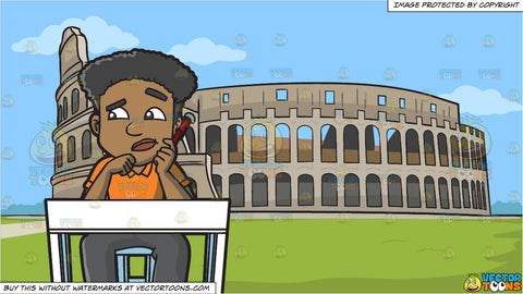 A Man Taking A Test Looks Confused By The Questions and The Colosseum Background