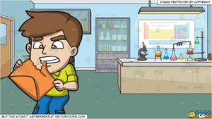A Man Tearing An Envelope With His Teeth and Science Laboratory Background