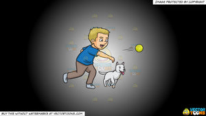 Cartoon clipart: a man throwing a tennis ball to play fetch with his dog on a white and black gradient background