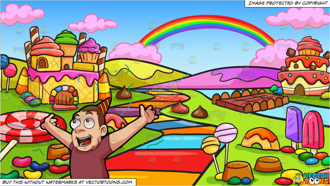 A Man Throwing Confetti During A Party and A Candy Land Background