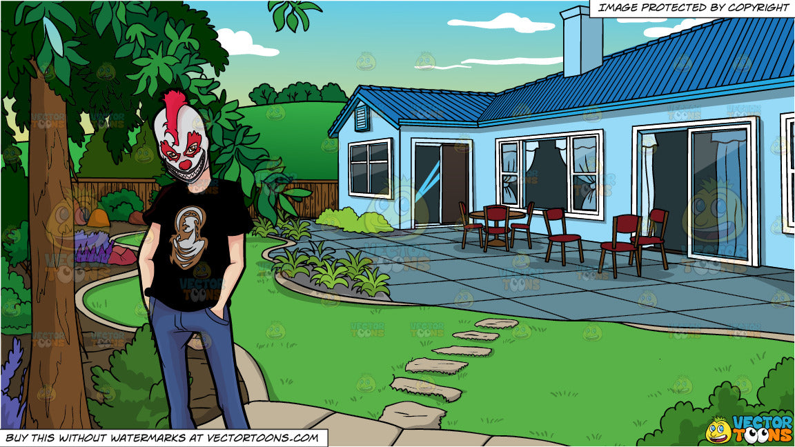 A Man Wearing A Creepy Clown Mask and A Landscaped Backyard Of A House  Background