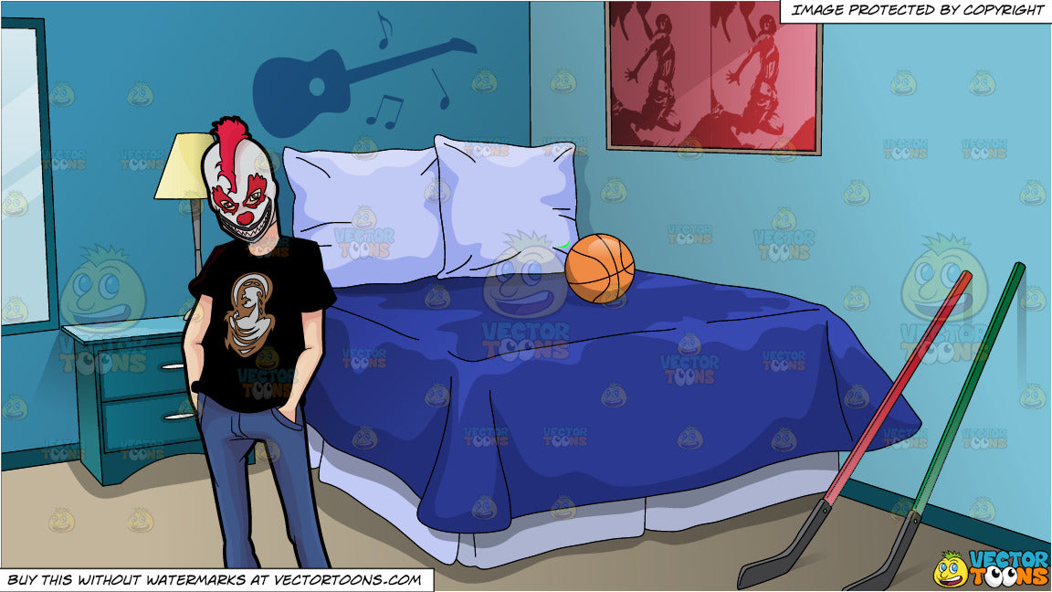 A Man Wearing A Creepy Clown Mask and Adolescent Boys Bedroom Background