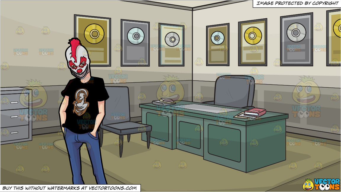 A Man Wearing A Creepy Clown Mask and Office Of An Award Winning Record  Producer Background