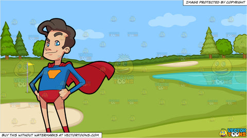 A Man Wearing A Red And Blue Super Hero Costume and Golf Course Putting Green Background