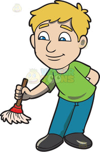 A man with a small broom