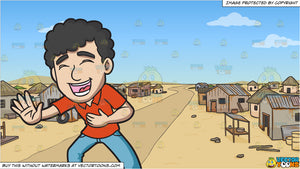 A Man With Curly Hair Laughing Hysterically and A Slum Neighborhood In The Middle Of Nowhere Background