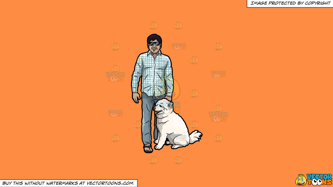 Cartoon clipart: a man with his dog on a solid mango orange ff8c42 background