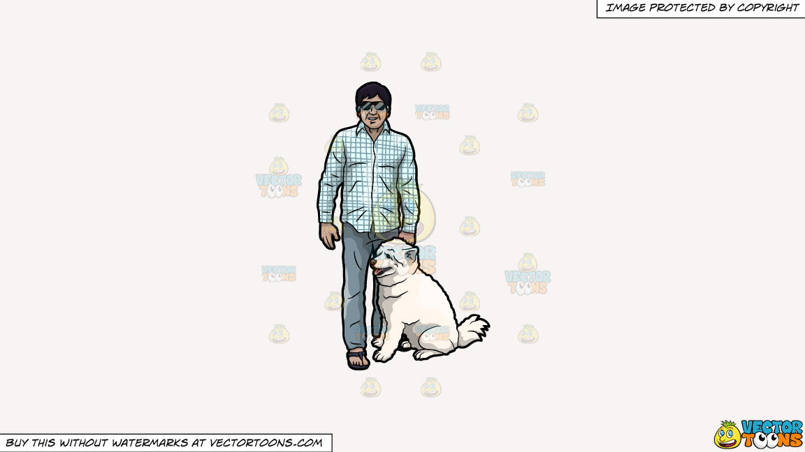 Cartoon clipart: a man with his dog on a solid white smoke f7f4f3 background