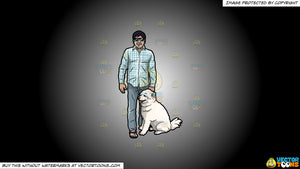 Cartoon clipart: a man with his dog on a white and black gradient background