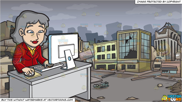 A Mature Businesswoman Typing On A Keyboard and A Ghost City After A  Disaster Background