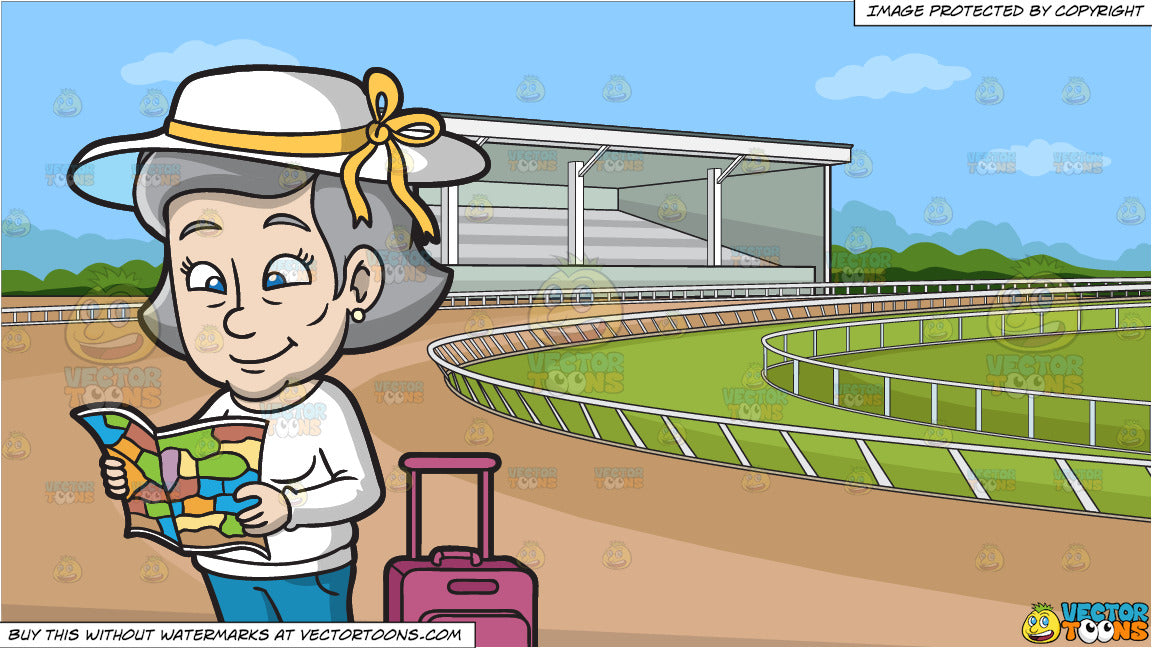 A Mature Woman Reading A Tour Map and A Horse Racing Track Background