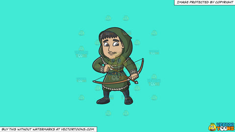 Cartoon clipart: a medieval man with a bow and arrow on a solid turquiose 41ead4 background