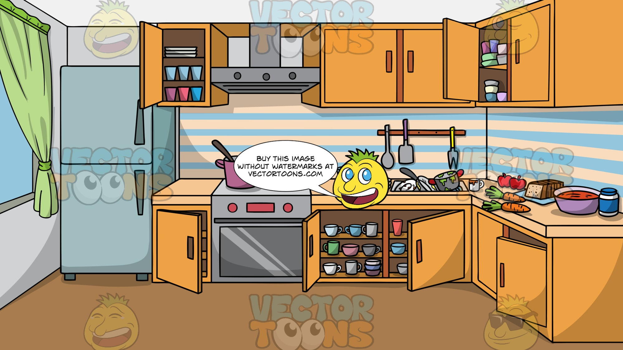 A Messy Kitchen Background. A kitchen with cupboard doors left open, a pot left on the stove, dirty dishes in the sink, and dishes and food left on the counter
