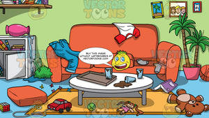 A Messy Living Room Background. A messy living room with toys, clothes, dirty dishes, and other objects lying on the couch, coffee table, and floor