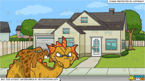 A Mischievous Dragon and A House For Sale Background