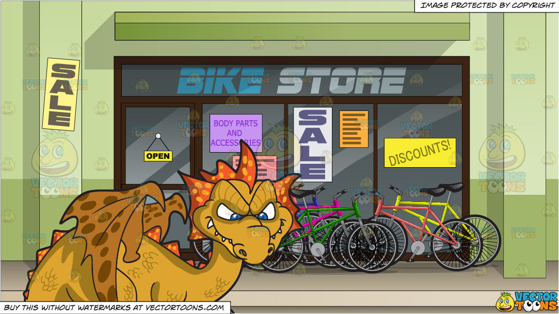 46b00df225b A Mischievous Dragon and Exterior Of A Bike Shop Background ...