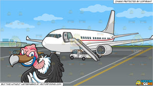 A Mischievous Vulture and An Airport Tarmac Background