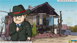A Mobster Secretly Pulling Out A Gun and A Demolished House Background