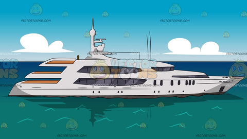 A Modern Yacht In The Ocean Background
