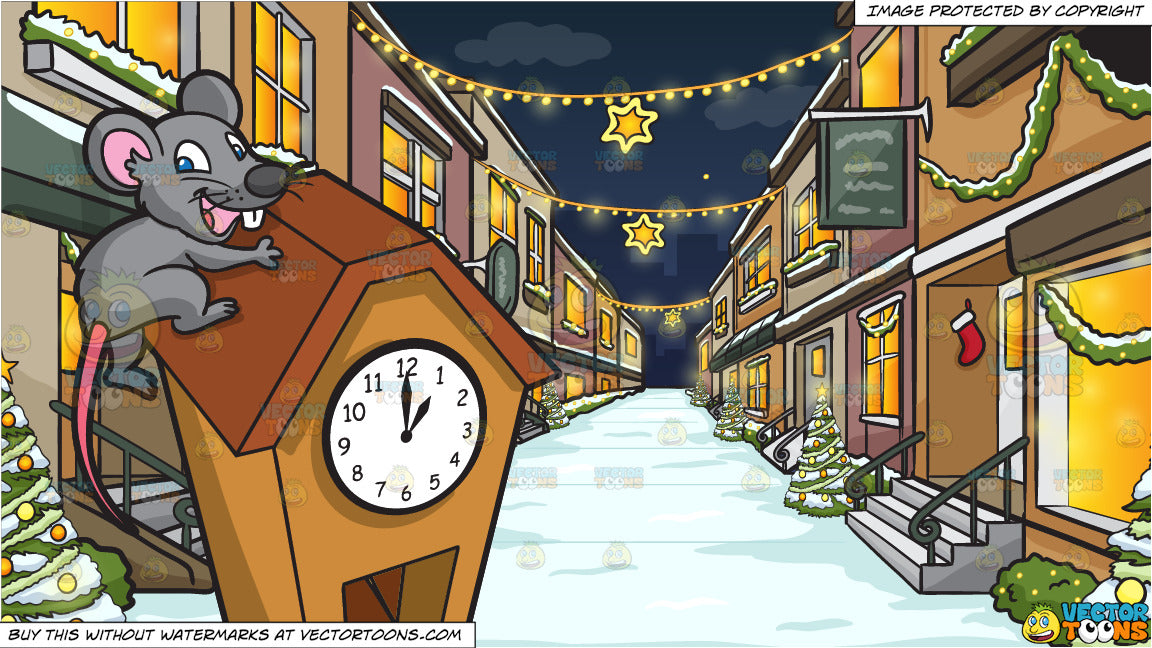 A Mouse Running Up A Clock and A Quiet Street With Quaint Stores Decorated  For The Christmas Season Background