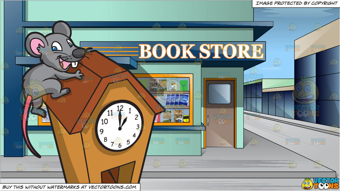 A Mouse Running Up A Clock and Exterior View Of A Book Store Around The  Corner Of A City Street