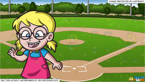 A Nerdy Girl With Braces and Baseball Diamond Background