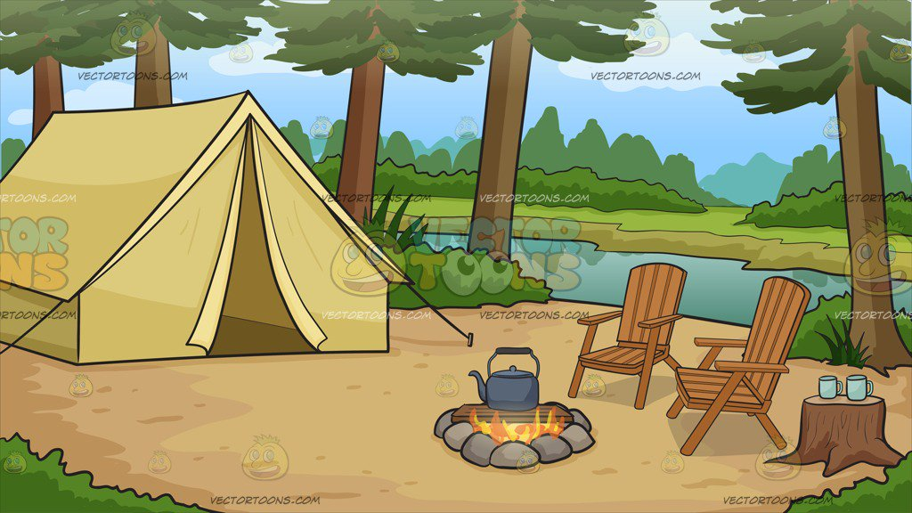 A Nice Campsite By The River Background