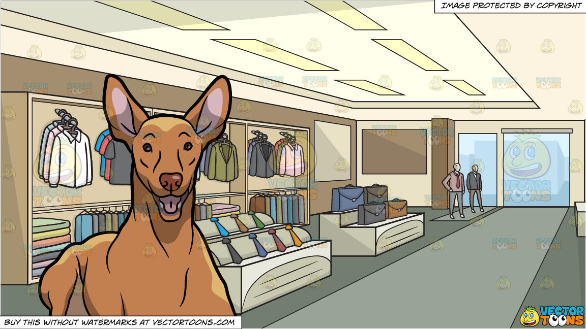 93d6cb7c0 A Nice Pharaoh Hound Dog and Inside A Clothing Shop For Men Background