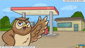 A night owl raising its left wing and A Small Town Gasoline Station Background