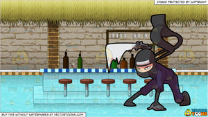 A Ninja Master Preparing For A Sword Fight and A Swim Up Bar In A Pool  Background