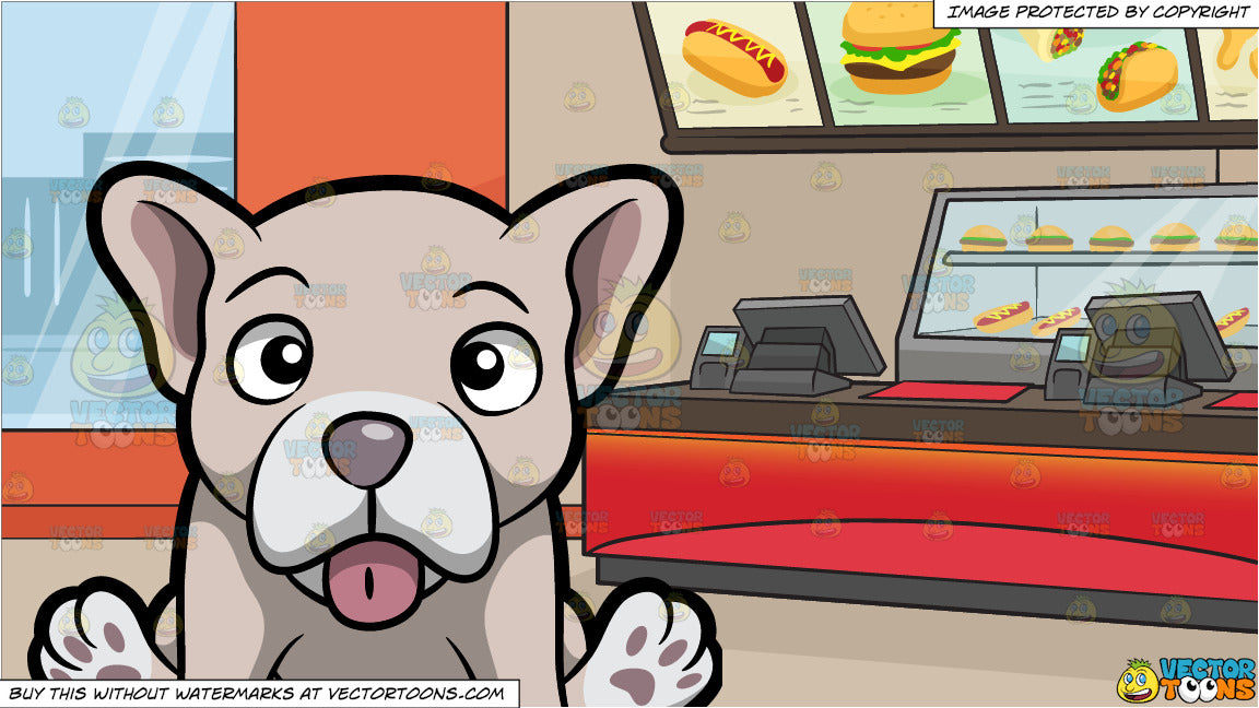 A Pale But Cute Young French Bulldog Puppy and Inside A Fast Food Restaurant Background