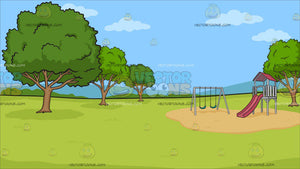 A Park With Slide And Swings Background