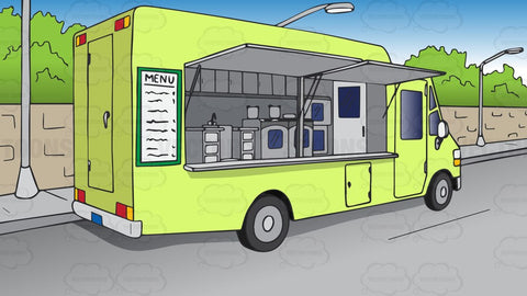 A Parked Food Truck Background