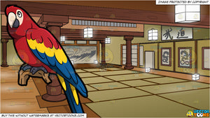 A Parrot and A Japanese Dojo Background