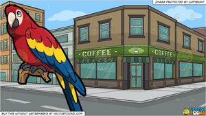A Parrot and The Exterior Of A Coffee Shop Background
