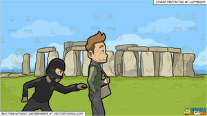 A Pickpocket Trying To Rob The Wallet From The Pants Of A Man and Stonehenge Background