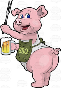A Pig Cook Holding A Beer And Bbq Fork