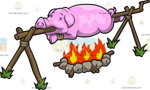 A Pig Roasting Over A Fire